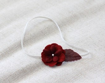 Red Small FLower Headband, Newborn Headband, Baby Headband,