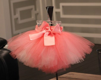 flower girl tutu coral, coral pink tulle tutu skirt, flower girl dress, girls tulle tutu
