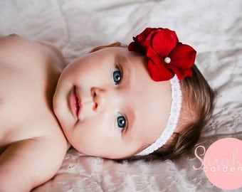 Baby Headband, Red Flower Headband, Pettit Flower Headband