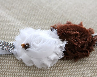 brown infant headband, ivory baby headband, Flower girl hair accessory