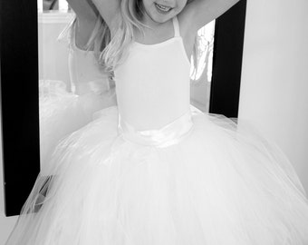 Flower girl dress, wedding tutus, Flower Girl tutu, Sewn tutus, Ivory tutu, vintage flower girl dress, wedding