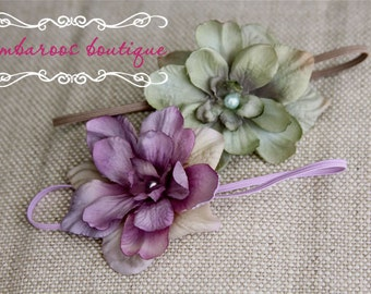 newborn headband starter set, mint green headband, purple headband, Headband Set, Photography prop, Gift set