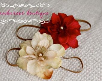 baby Headband Set, newborn headband, red headband, ivory flower headband, newborn photography prop, vintage newborn headband