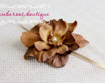 Tan Newborn Headband, Baby headband, small flower headband, flower girl headband, brown flower headband