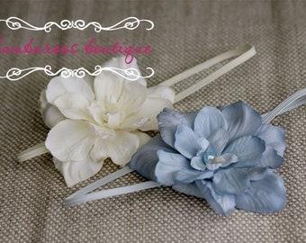 small flower headband, ivory baby headband, newborn head band