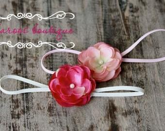pink small flower headband, pink baby headband, newborn photography prop, gift set