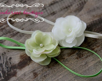 off white baby headband, green small flower headband, baptism headband, christening headband, newborn photography prop, gift set