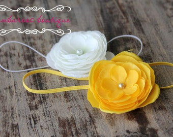 white baby headband, yellow newborn headband, small flower headband