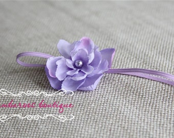 Baby headband, flower headband, lavender small flower headband, purple flower headband