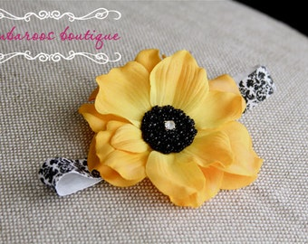 Vintage Yellow Flower Headband, baby headbands, newborn headband, black and white damask