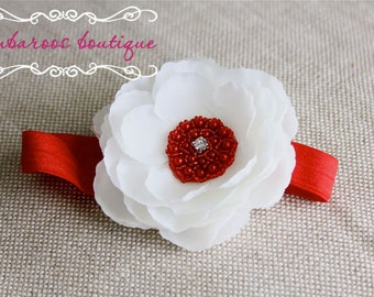 White flower headband, Newborn Headband, Baby Headband, red flower headband
