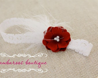 red flower, feather baby headband
