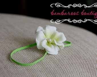 cream flower baby headband, green newborn headband, photography props