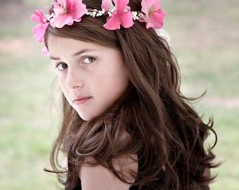 Flower Girl Hair Wreath, flower girl hair accessories, pink