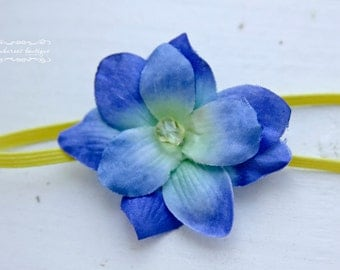 yellow baby headbands, newborn headbands, small blue flower headband