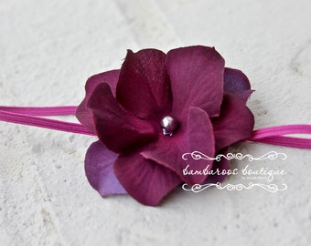 fuchsia baby flower headband, Newborn Headband, Baby Headband, plum purple Small FLower Headband