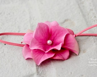 pink flower headbands, newborn photography props, Infant Headband, Toddler Headband, hot pink