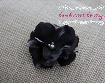 black flower hair clip, small flower clip, small flower hair clips