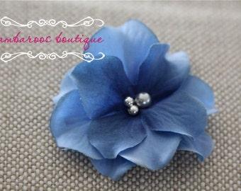 Blue flower hair clip, Small flower clip, small flower hair clips, Blue hair clip