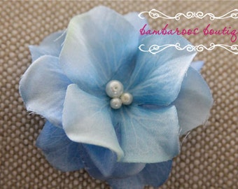 light blue flower hair clip, small flower clip, small flower hair clips