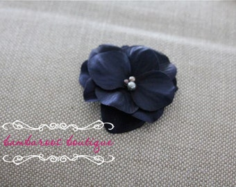 navy blue flower clip, flower clip, small flower hair clips, flower girl hair clips, deep blue, dark blue