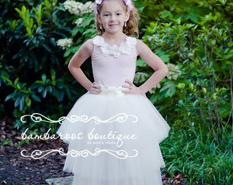 tulle skirt, ivory flower girl dress, long tutu skirt for girls, flower girl dress