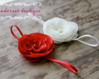 newborn headbands starter set, baby Headband, Photography props, Gift set, small coral red flower, small white flower