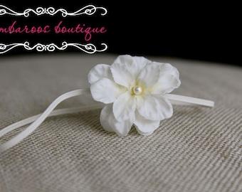 baptism headband, ivory, baby headband