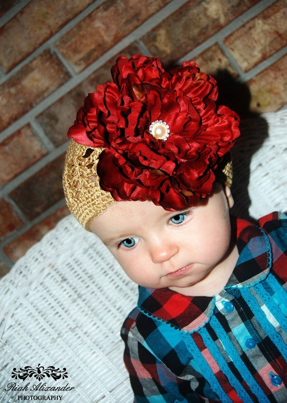 Ruby Red Extra Large Flower on a Alligator Detatchable Hair Clip with a soft Tan Crocheted Beanie Hat. Available in Newborn to 8 years old.