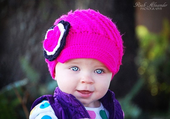 Pink Crochet baby hats, hot pink hat, beanie hat, knit baby hats