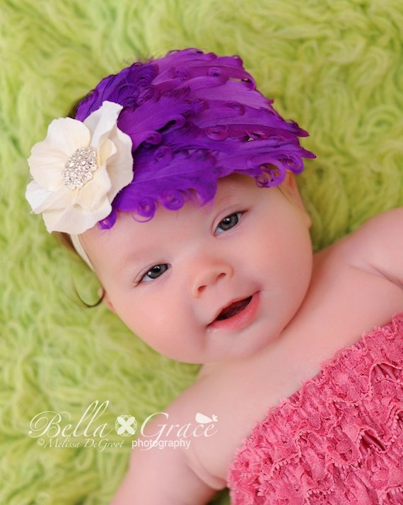 feather vintage girls headband, Purple Feather fascinator, small ivory Flower Newborn photography props Infant Baby Toddler Girl Adult