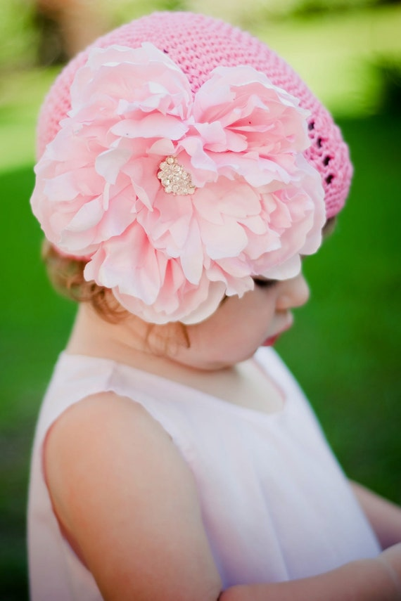 Princess Pink flower hat with Gorgeous pink detachable flower Available NEWBORN to 4 years old