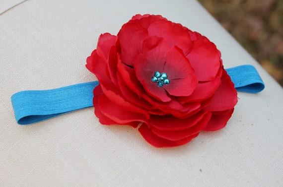baby headband, Red Flower headband, blue headband, baby headband