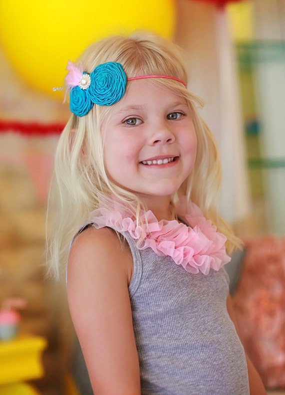 Blue vintage headband, baby headband, flower girl hair accessories