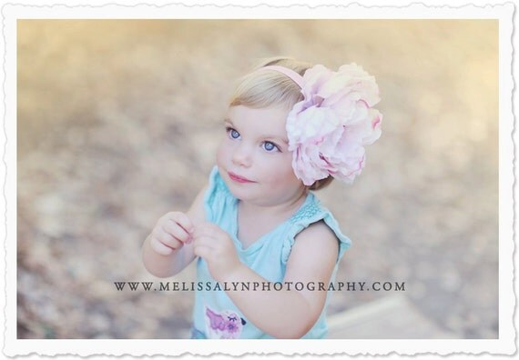 Vintage Lavender Pink Large Peony Flower with Soft Pink stretch elastic headband. PHOTOGRAPHY PROPS, Newborn, Baby, Infant Toddler Girls
