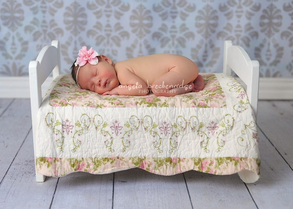 Small Pink Flower headband, newborn headbands, baby headbands, ivory Skinny Elastic, infant headbands, photography props