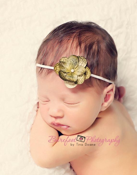 headband, small green flower headband for babies, newborn photography props, Fall Infant Headband, Toddler Headband