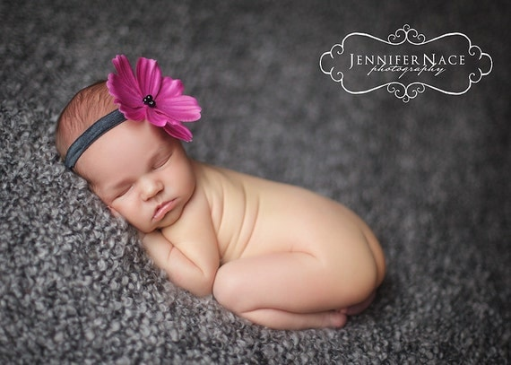 purple pink flower headband, Newborn Headband, Baby Headband, black elastic headband
