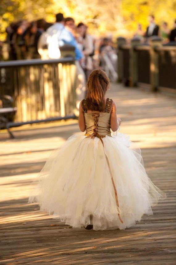 flower girl dress, Ivory with a hint of Gold and Champagne, Flower Girl Tutu Skirt