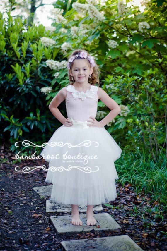 tulle skirt, ivory flower girl dress, long tutu skirt for girls, flower girl dress