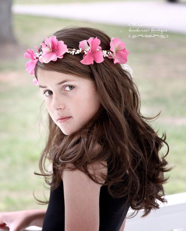 Flower Girl Hair Wreath flower girl hair accessories pink