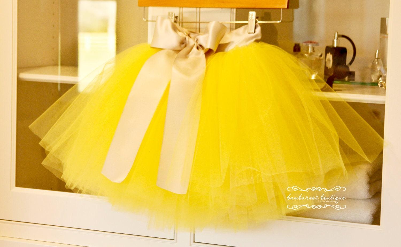 yellow tutu flower girl dress Silver tutu Flower Girl