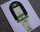 Kokeshi Doll Greeting Card - Emerald Cherry Blossoms