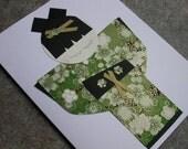 Japanese Kokeshi Doll Card - Glistening Green and Black