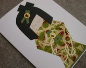 Japanese Kokeshi Greeting Card - Olive Leaves