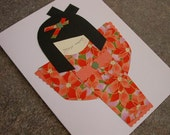 Orange Dream - Kokeshi Doll Greeting Card