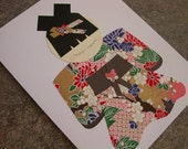 Lush Blossoms - Japanese Kokeshi Doll Card