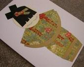 Kokeshi Doll Greeting Card - Pretty Blossoms