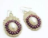 Purple pearl beaded Earrings