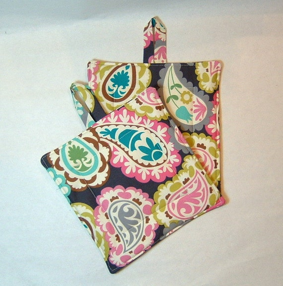 Double Insulated Pot Holder Set - Large Paisley